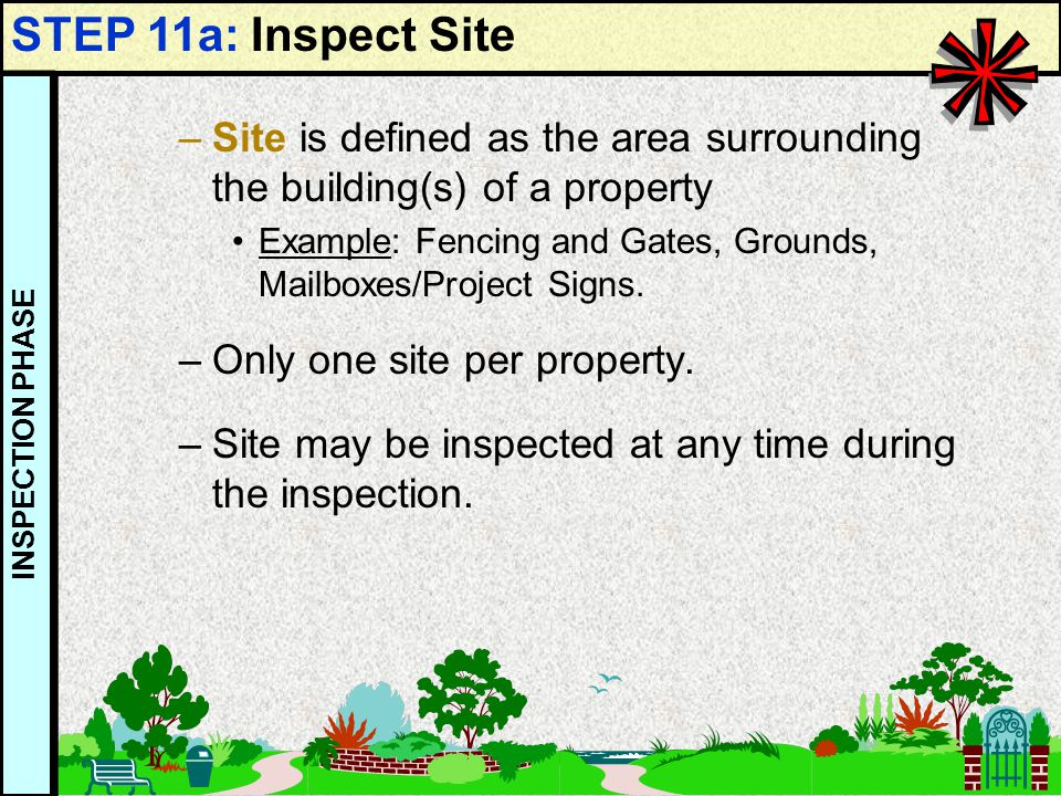 54 –Site is defined as the area surrounding the building(s) of a property Example: Fencing and Gates, Grounds, Mailboxes/Project Signs. –Only one site