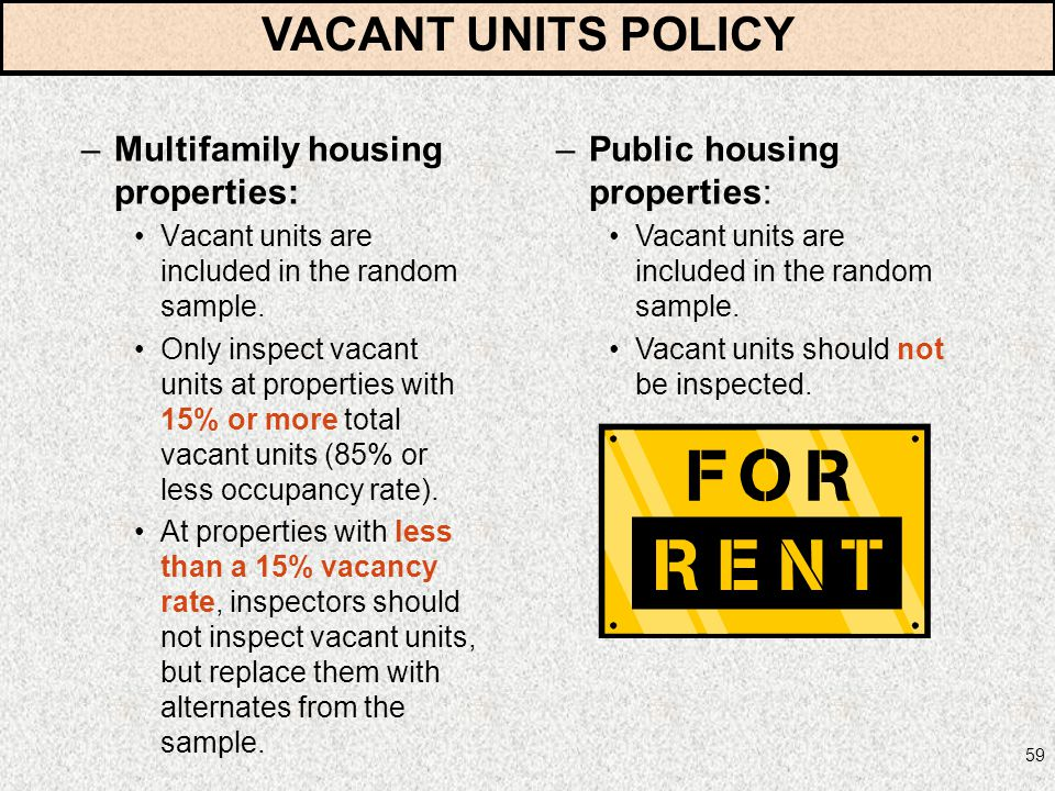59 –Multifamily housing properties: Vacant units are included in the random sample. Only inspect vacant units at properties with 15% or more total vac