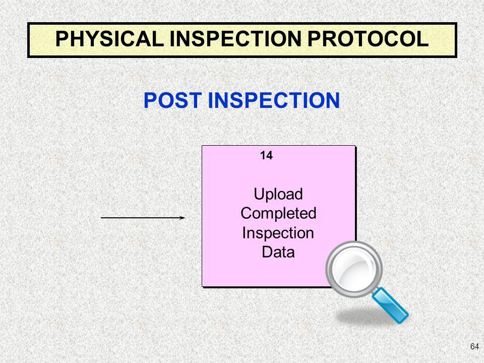 64 Upload Completed Inspection Data Upload Completed Inspection Data 14 PHYSICAL INSPECTION PROTOCOL POST INSPECTION