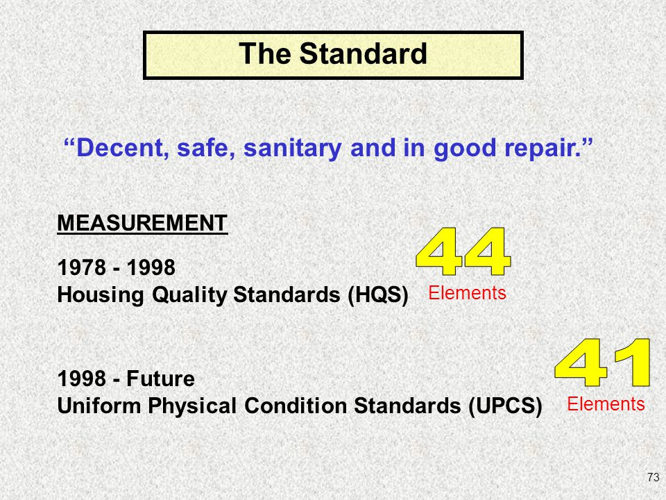 73 Decent, safe, sanitary and in good repair. MEASUREMENT 1978 - 1998 Housing Quality Standards (HQS) 1998 - Future Uniform Physical Condition Standar