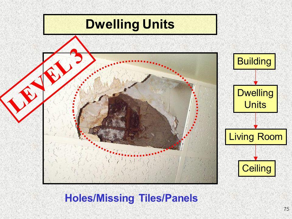 75 Dwelling Units Holes/Missing Tiles/Panels LEVEL 3 Building Dwelling Units Living Room Ceiling