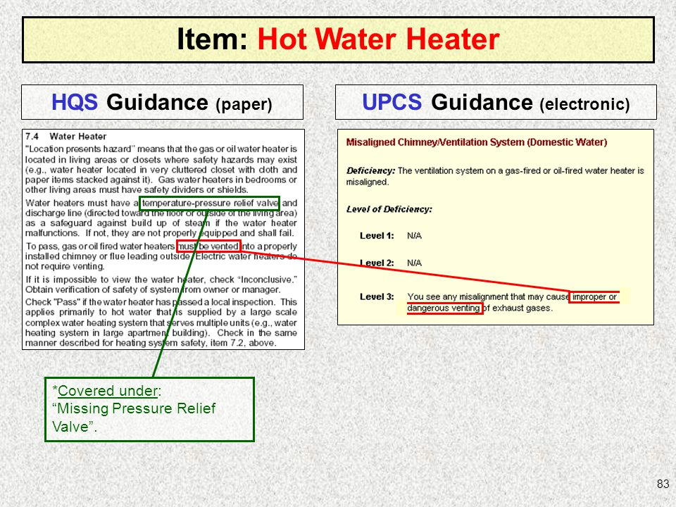 83 Item: Hot Water Heater HQS Guidance (paper) UPCS Guidance (electronic) *Covered under: Missing Pressure Relief Valve.