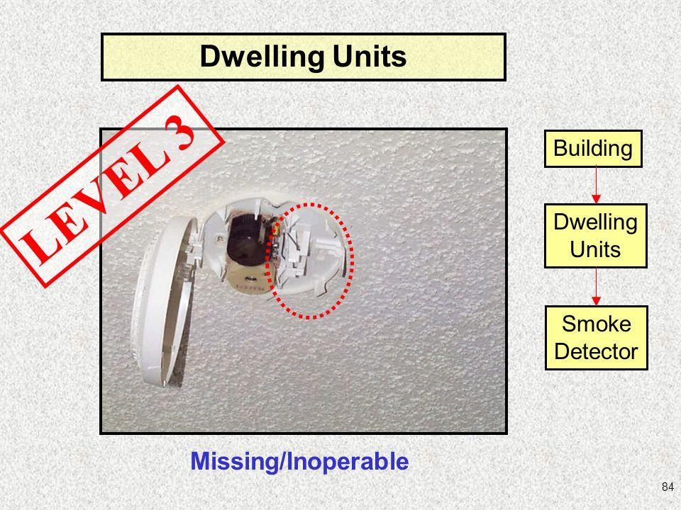 84 Dwelling Units LEVEL 3 Building Dwelling Units Smoke Detector Missing/Inoperable