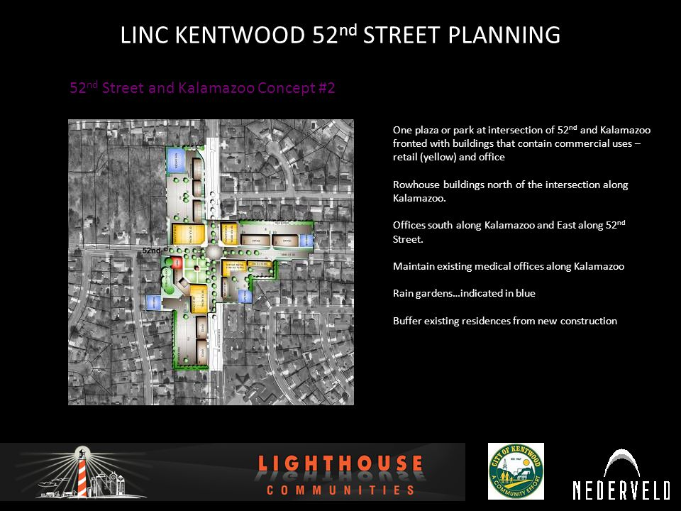 12/16/2010 LINC KENTWOOD 52 nd STREET PLANNING 52 nd Street and Kalamazoo Concept #2 One plaza or park at intersection of 52 nd and Kalamazoo fronted with buildings that contain commercial uses – retail (yellow) and office Rowhouse buildings north of the intersection along Kalamazoo.