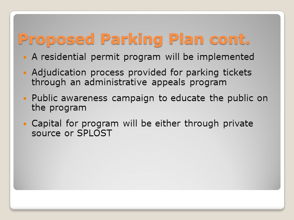 Proposed Parking Plan cont.