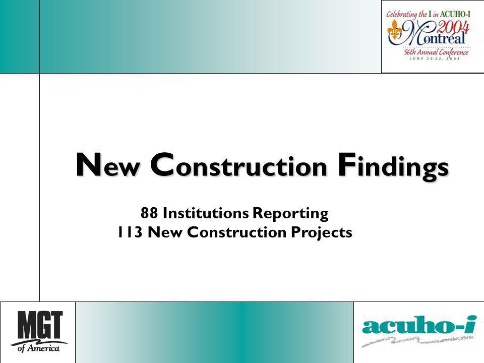 N ew C onstruction F indings 88 Institutions Reporting 113 New Construction Projects