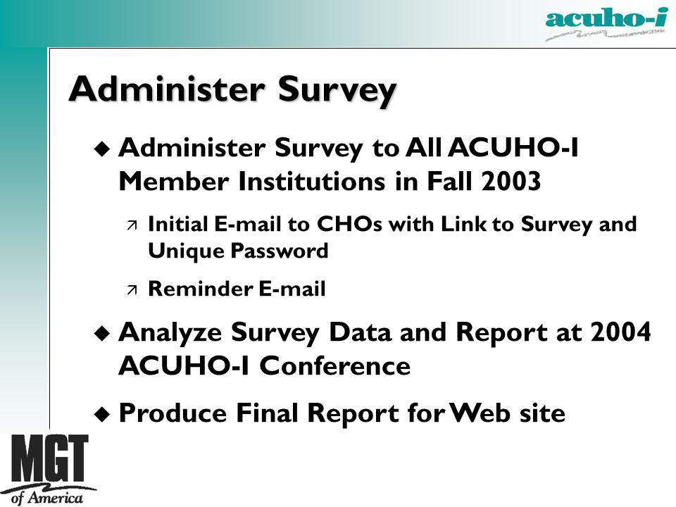 u Administer Survey to All ACUHO-I Member Institutions in Fall 2003 ä Initial E-mail to CHOs with Link to Survey and Unique Password ä Reminder E-mail u Analyze Survey Data and Report at 2004 ACUHO-I Conference u Produce Final Report for Web site Administer Survey