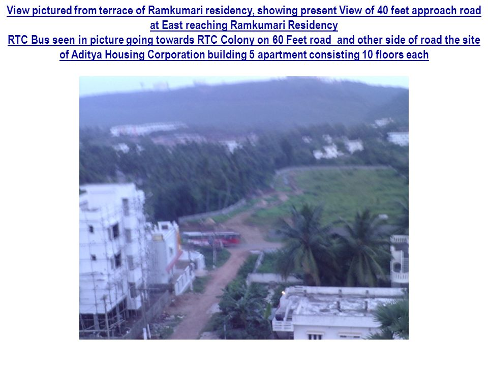 True South view pictured from top floor of Ramkumari residency, showing the aerial view of Punjab National Bank Building and street lights on 100 feet Mithilapuri road leading to Ramkumari Residency