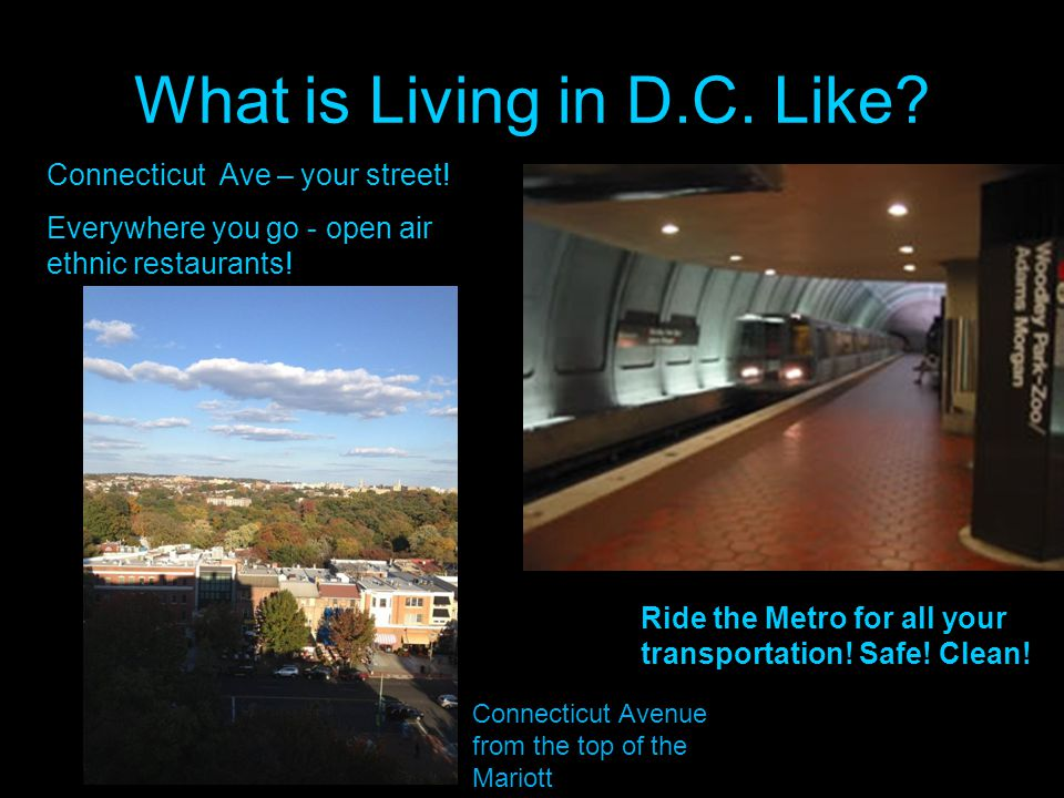 What is Living in D.C. Like. Ride the Metro for all your transportation.