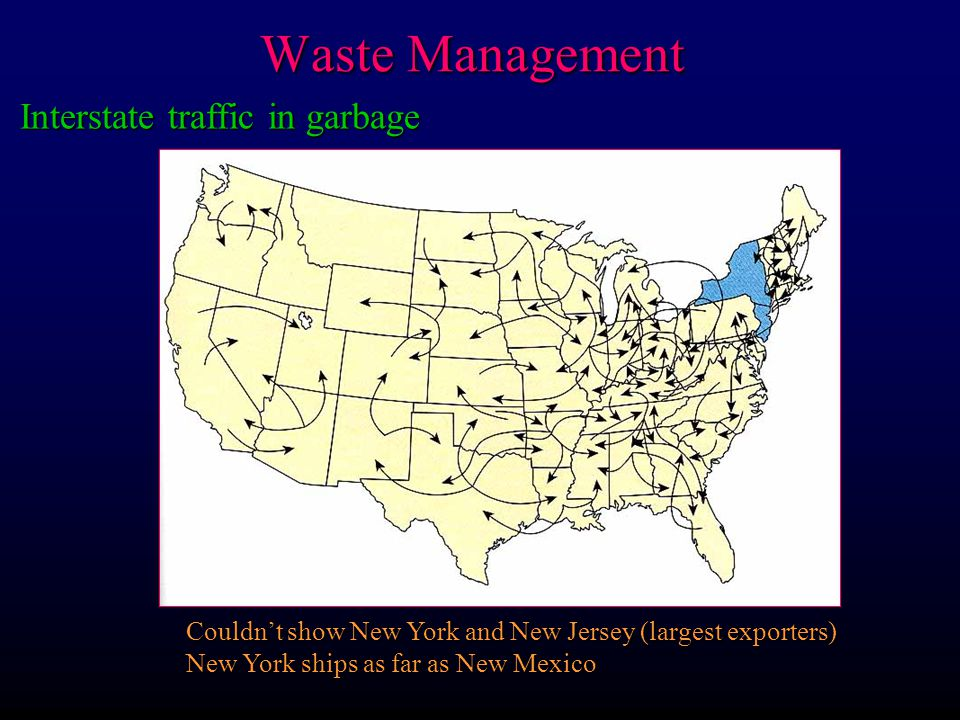 Waste Management Interstate traffic in garbage Couldnt show New York and New Jersey (largest exporters) New York ships as far as New Mexico