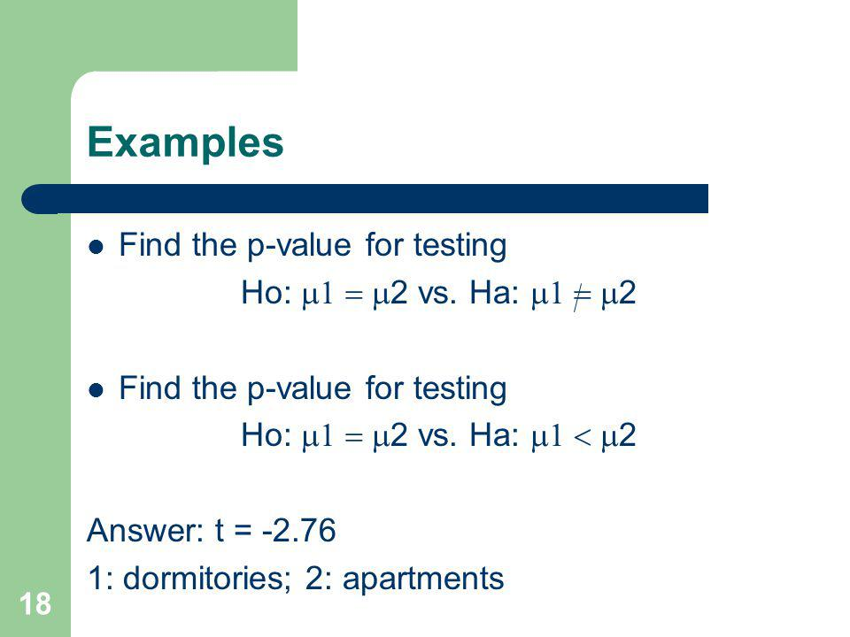 18 Examples Find the p-value for testing Ho: 2 vs. Ha: 2 Find the p-value for testing Ho: 2 vs. Ha: 2 Answer: t = -2.76 1: dormitories; 2: apartments