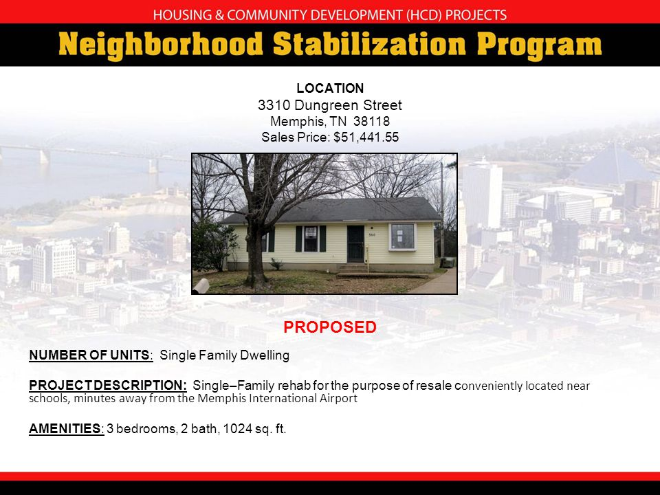 NUMBER OF UNITS: Single Family Dwelling PROJECT DESCRIPTION: Single–Family rehab for the purpose of resale c onveniently located near schools, minutes away from the Memphis International Airport AMENITIES: 3 bedrooms, 2 bath, 1024 sq.