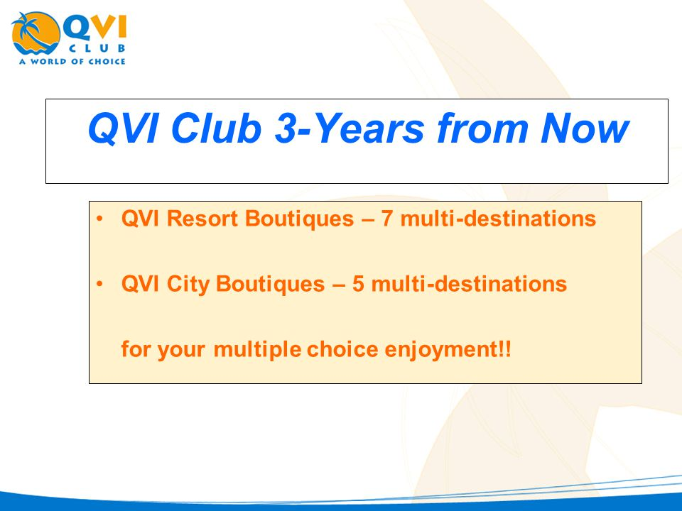 QVI Club 3-Years from Now QVI Resort Boutiques – 7 multi-destinations QVI City Boutiques – 5 multi-destinations for your multiple choice enjoyment!!