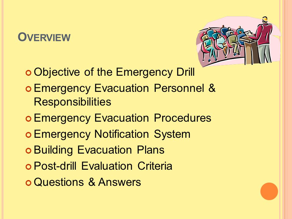 O VERVIEW Objective of the Emergency Drill Emergency Evacuation Personnel & Responsibilities Emergency Evacuation Procedures Emergency Notification Sy