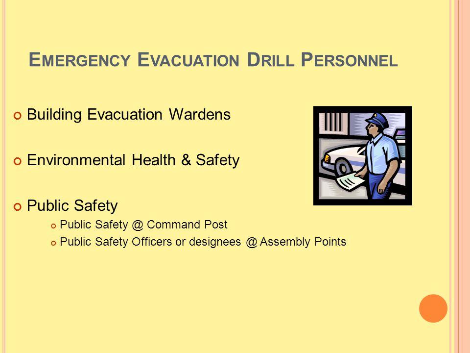 E MERGENCY E VACUATION D RILL P ERSONNEL Building Evacuation Wardens Environmental Health & Safety Public Safety Public Safety @ Command Post Public S