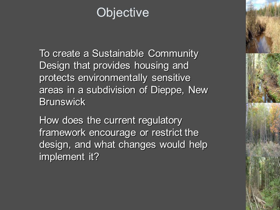 Objective To create a Sustainable Community Design that provides housing and protects environmentally sensitive areas in a subdivision of Dieppe, New Brunswick How does the current regulatory framework encourage or restrict the design, and what changes would help implement it