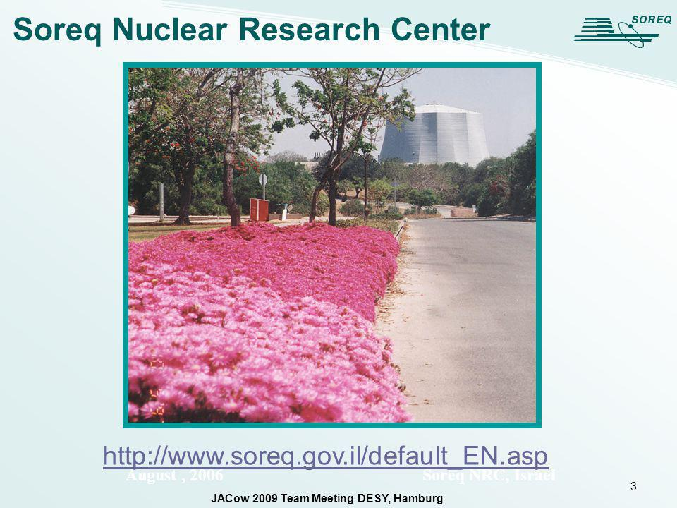 3 August, 2006 Soreq NRC, Israel Soreq Nuclear Research Center http://www.soreq.gov.il/default_EN.asp JACow 2009 Team Meeting DESY, Hamburg