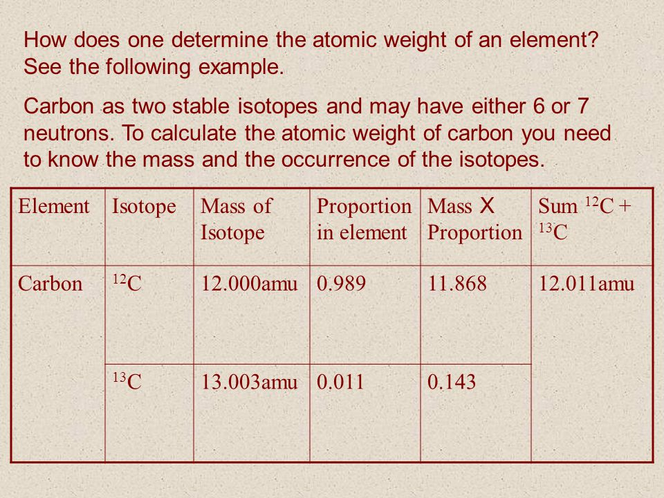 How does one determine the atomic weight of an element? See the following example. Carbon as two stable isotopes and may have either 6 or 7 neutrons.