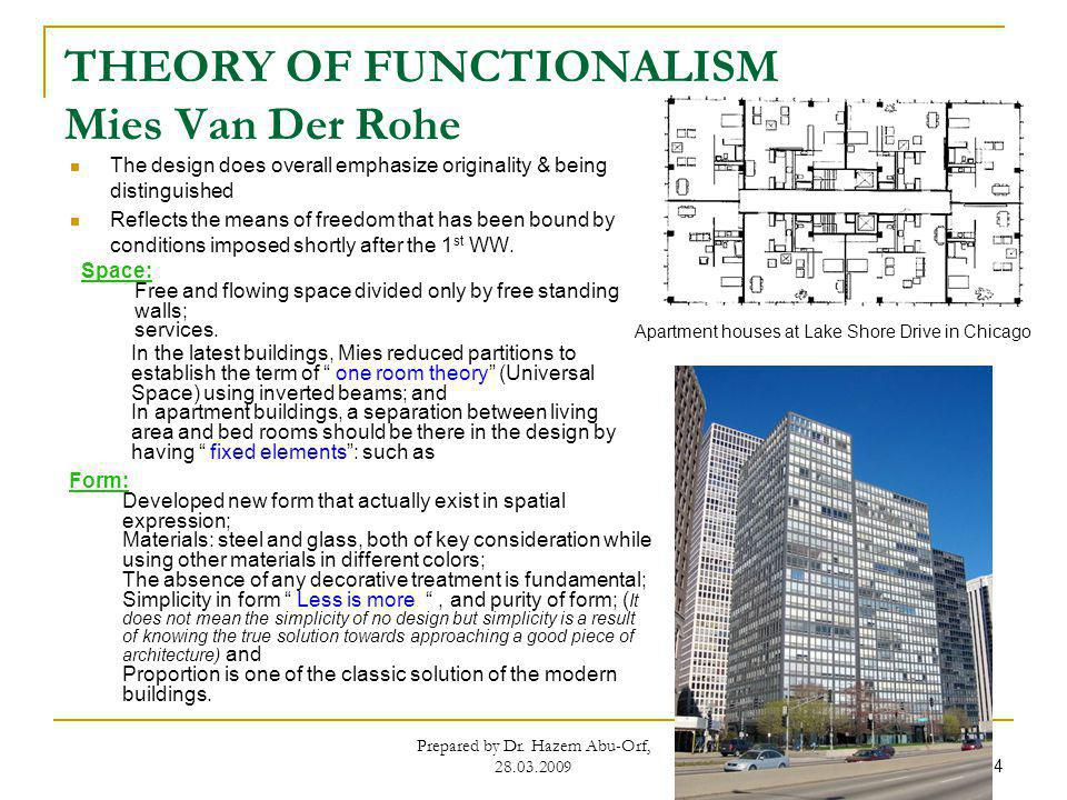 THEORY OF FUNCTIONALISM Mies Van Der Rohe The design does overall emphasize originality & being distinguished Reflects the means of freedom that has b