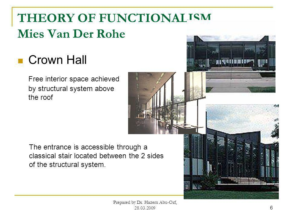 THEORY OF FUNCTIONALISM Mies Van Der Rohe Crown Hall Free interior space achieved by structural system above the roof Prepared by Dr. Hazem Abu-Orf, 2