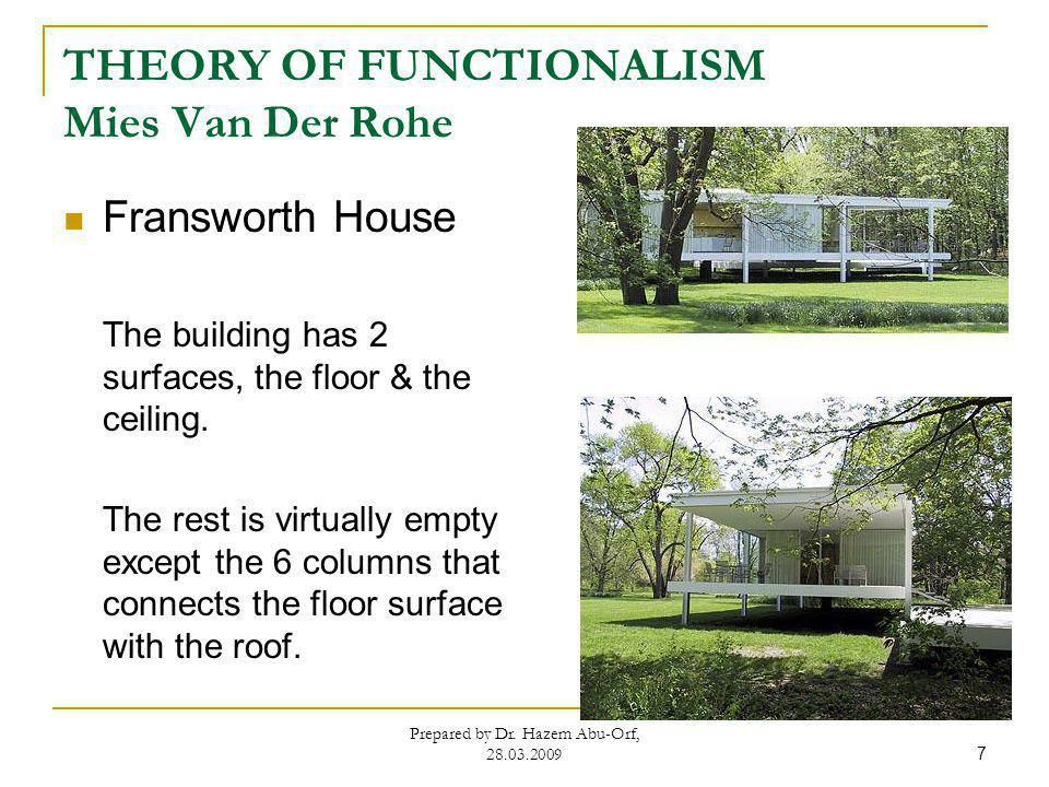 THEORY OF FUNCTIONALISM Mies Van Der Rohe Fransworth House The building has 2 surfaces, the floor & the ceiling. The rest is virtually empty except th