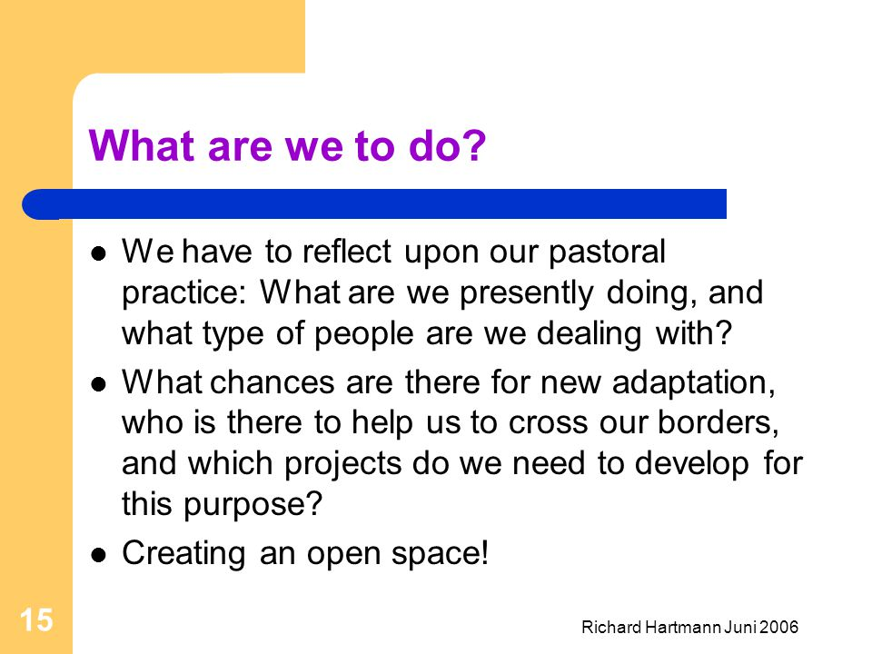 Richard Hartmann Juni 2006 15 What are we to do? We have to reflect upon our pastoral practice: What are we presently doing, and what type of people a