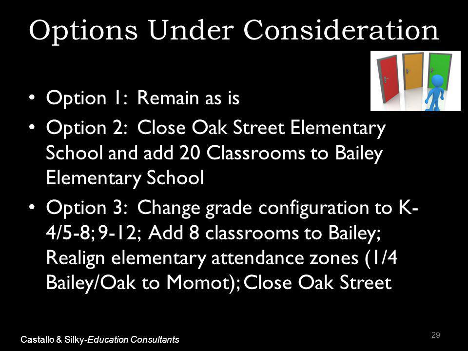 Options Under Consideration Option 1: Remain as is Option 2: Close Oak Street Elementary School and add 20 Classrooms to Bailey Elementary School Option 3: Change grade configuration to K- 4/5-8; 9-12; Add 8 classrooms to Bailey; Realign elementary attendance zones (1/4 Bailey/Oak to Momot); Close Oak Street 29 Castallo & Silky-Education Consultants