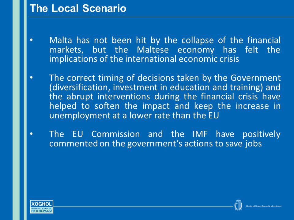 Malta has not been hit by the collapse of the financial markets, but the Maltese economy has felt the implications of the international economic crisi