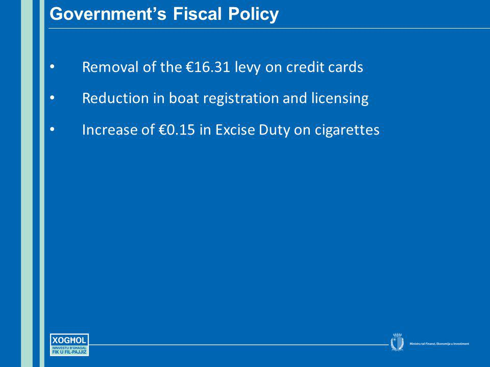 Removal of the 16.31 levy on credit cards Reduction in boat registration and licensing Increase of 0.15 in Excise Duty on cigarettes Governments Fiscal Policy