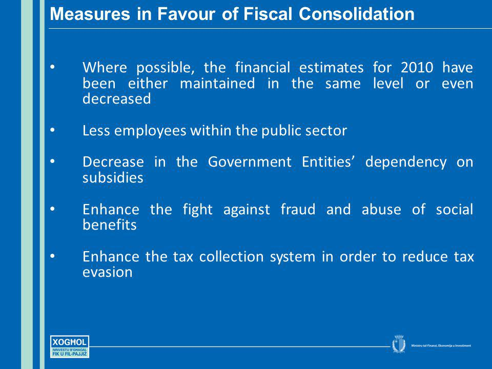 Where possible, the financial estimates for 2010 have been either maintained in the same level or even decreased Less employees within the public sector Decrease in the Government Entities dependency on subsidies Enhance the fight against fraud and abuse of social benefits Enhance the tax collection system in order to reduce tax evasion Measures in Favour of Fiscal Consolidation