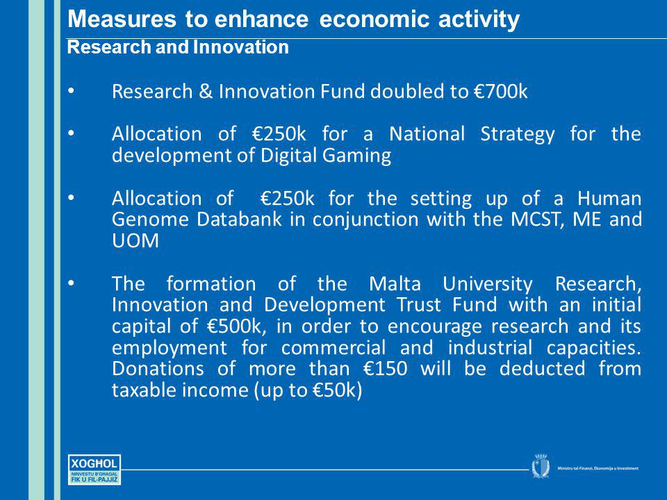 Research & Innovation Fund doubled to 700k Allocation of 250k for a National Strategy for the development of Digital Gaming Allocation of 250k for the setting up of a Human Genome Databank in conjunction with the MCST, ME and UOM The formation of the Malta University Research, Innovation and Development Trust Fund with an initial capital of 500k, in order to encourage research and its employment for commercial and industrial capacities.