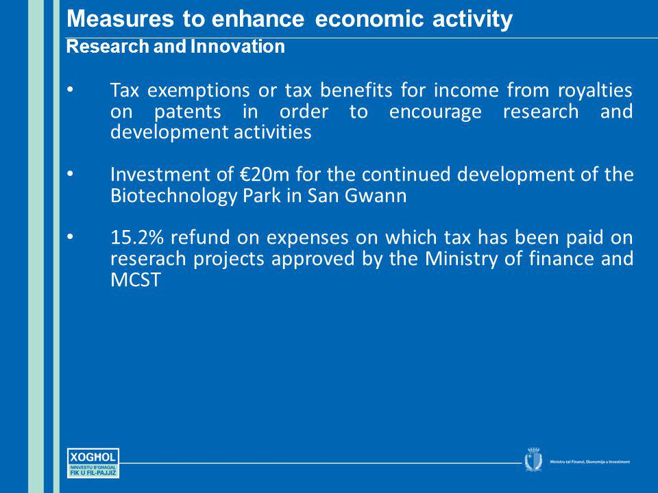 Tax exemptions or tax benefits for income from royalties on patents in order to encourage research and development activities Investment of 20m for the continued development of the Biotechnology Park in San Gwann 15.2% refund on expenses on which tax has been paid on reserach projects approved by the Ministry of finance and MCST Measures to enhance economic activity Research and Innovation