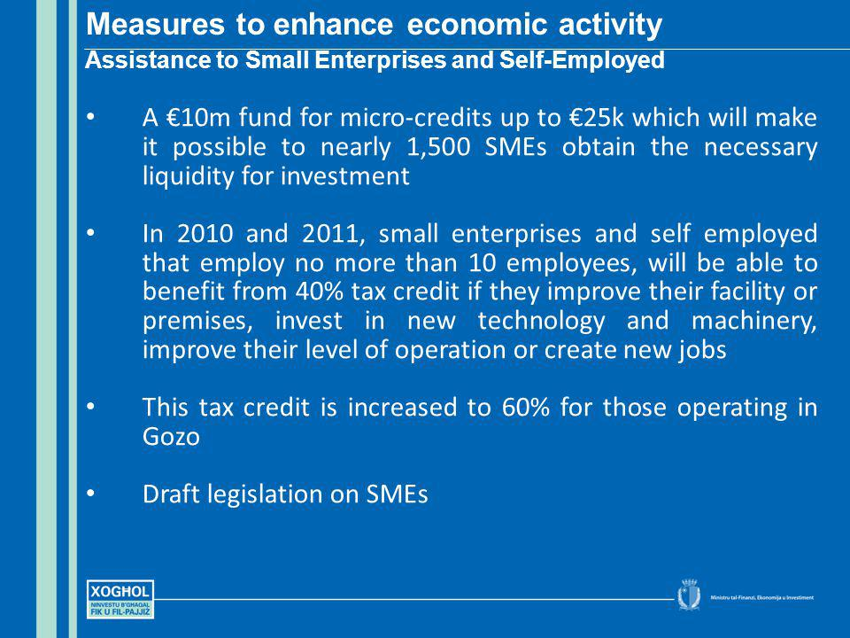 A 10m fund for micro-credits up to 25k which will make it possible to nearly 1,500 SMEs obtain the necessary liquidity for investment In 2010 and 2011