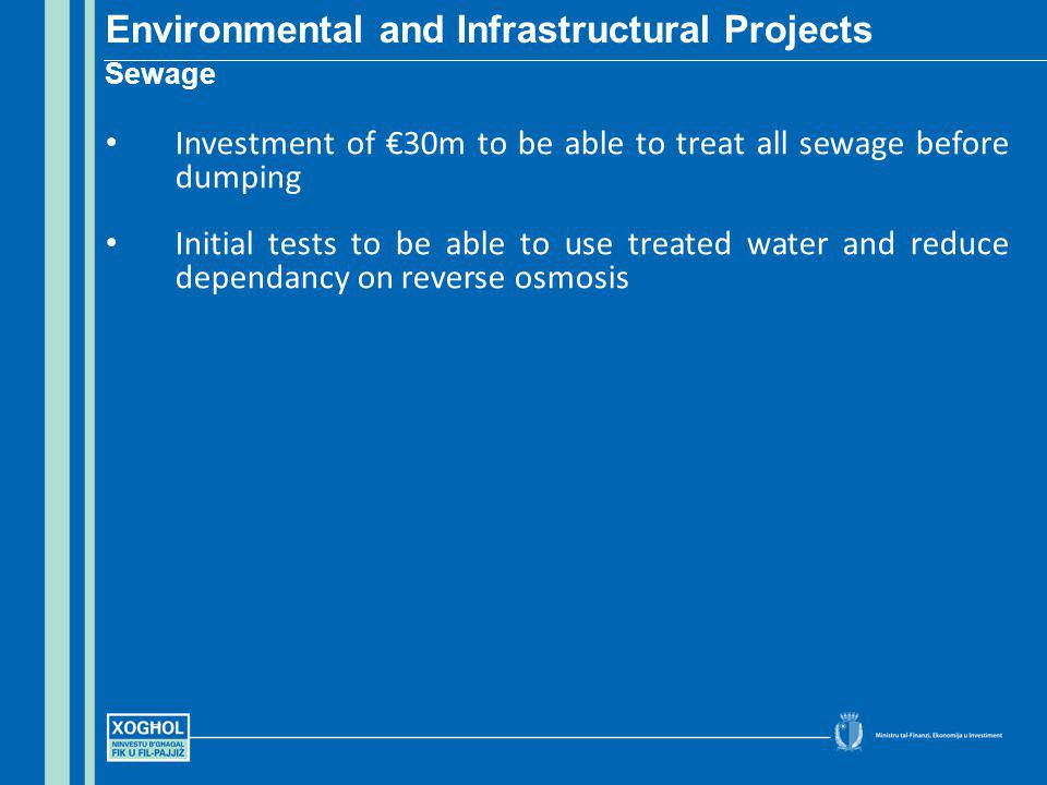 Investment of 30m to be able to treat all sewage before dumping Initial tests to be able to use treated water and reduce dependancy on reverse osmosis Environmental and Infrastructural Projects Sewage