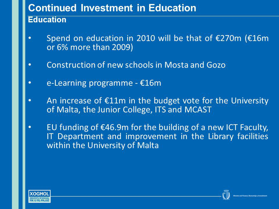 Spend on education in 2010 will be that of 270m (16m or 6% more than 2009) Construction of new schools in Mosta and Gozo e-Learning programme - 16m An