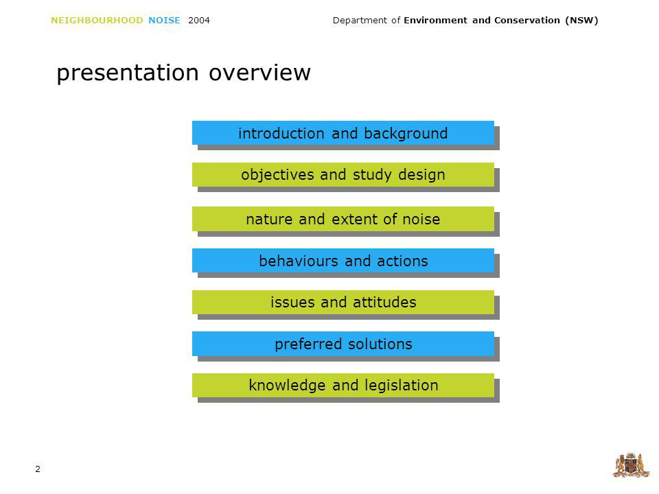 NEIGHBOURHOOD NOISE 2004 Department of Environment and Conservation (NSW) 2 presentation overview introduction and background objectives and study design nature and extent of noise behaviours and actions issues and attitudes preferred solutions knowledge and legislation