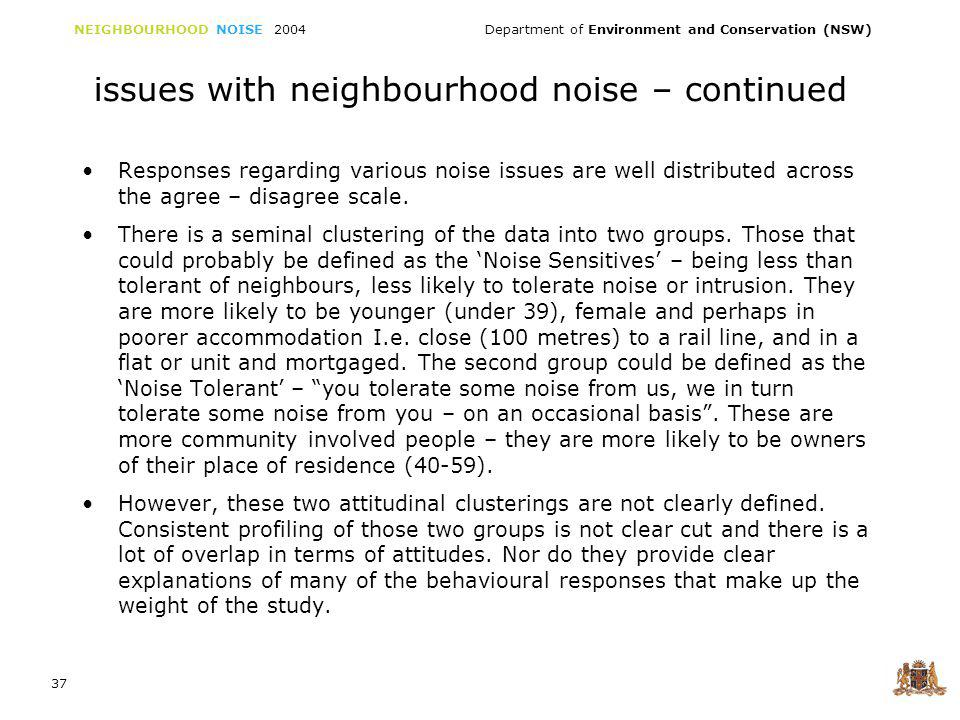 NEIGHBOURHOOD NOISE 2004 Department of Environment and Conservation (NSW) 37 issues with neighbourhood noise – continued Responses regarding various noise issues are well distributed across the agree – disagree scale.