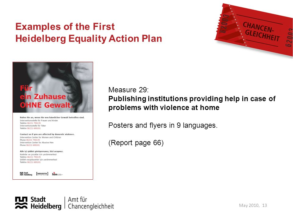 Examples of the First Heidelberg Equality Action Plan May 2010, 13 Measure 29: Publishing institutions providing help in case of problems with violenc