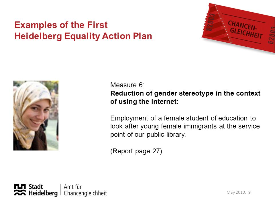 Examples of the First Heidelberg Equality Action Plan May 2010, 9 Measure 6: Reduction of gender stereotype in the context of using the Internet: Empl