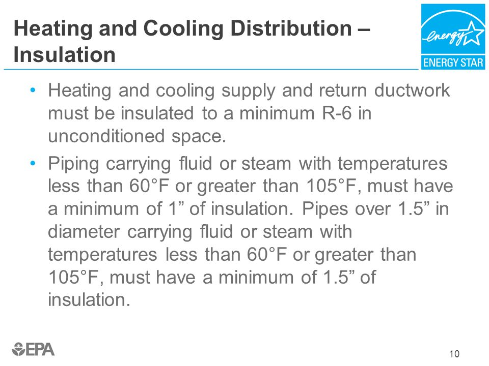 Heating and Cooling Distribution – Insulation Heating and cooling supply and return ductwork must be insulated to a minimum R-6 in unconditioned space