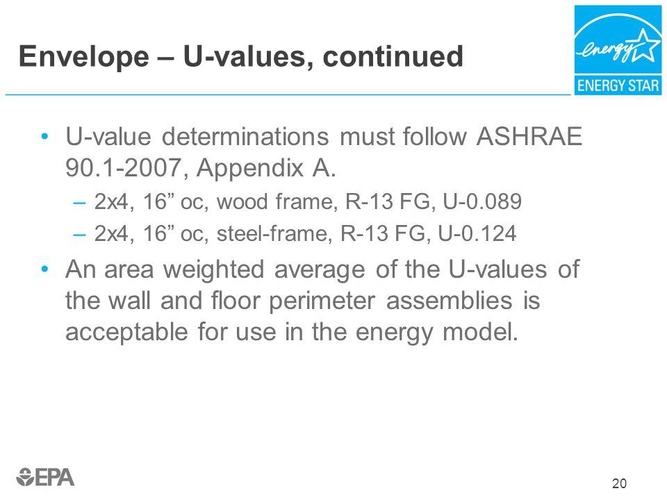 Envelope – U-values, continued U-value determinations must follow ASHRAE 90.1-2007, Appendix A. –2x4, 16 oc, wood frame, R-13 FG, U-0.089 –2x4, 16 oc,