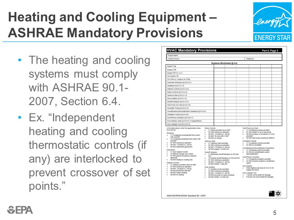 Heating and Cooling Equipment – ASHRAE Mandatory Provisions The heating and cooling systems must comply with ASHRAE 90.1- 2007, Section 6.4. Ex. Indep