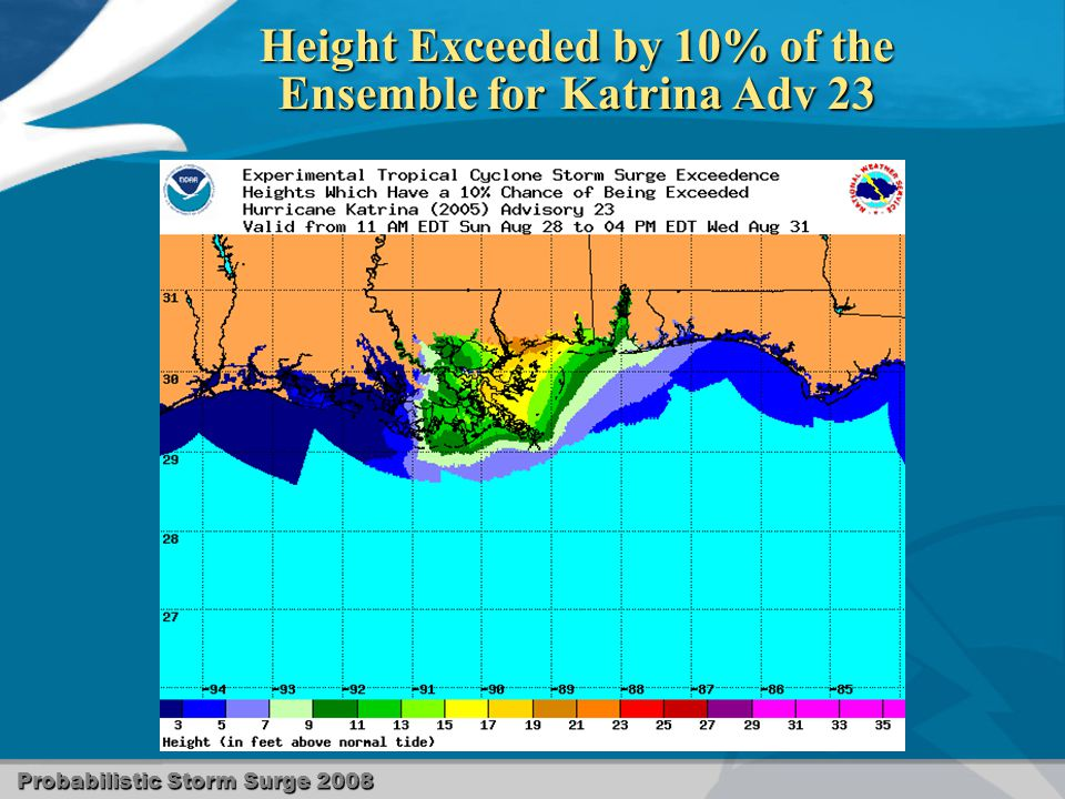 Probabilistic Storm Surge 2008 Height Exceeded by 10% of the Ensemble for Katrina Adv 23