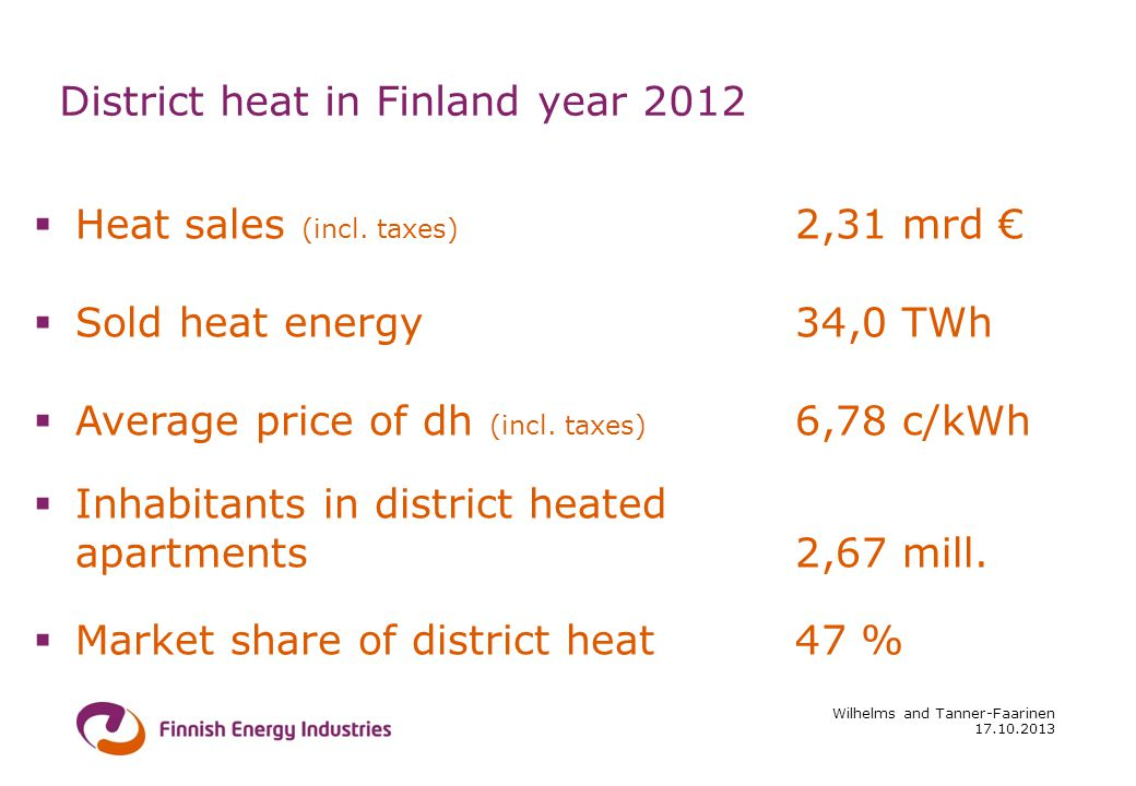 17.10.2013 Wilhelms and Tanner-Faarinen District heat in Finland year 2012 Heat sales (incl.