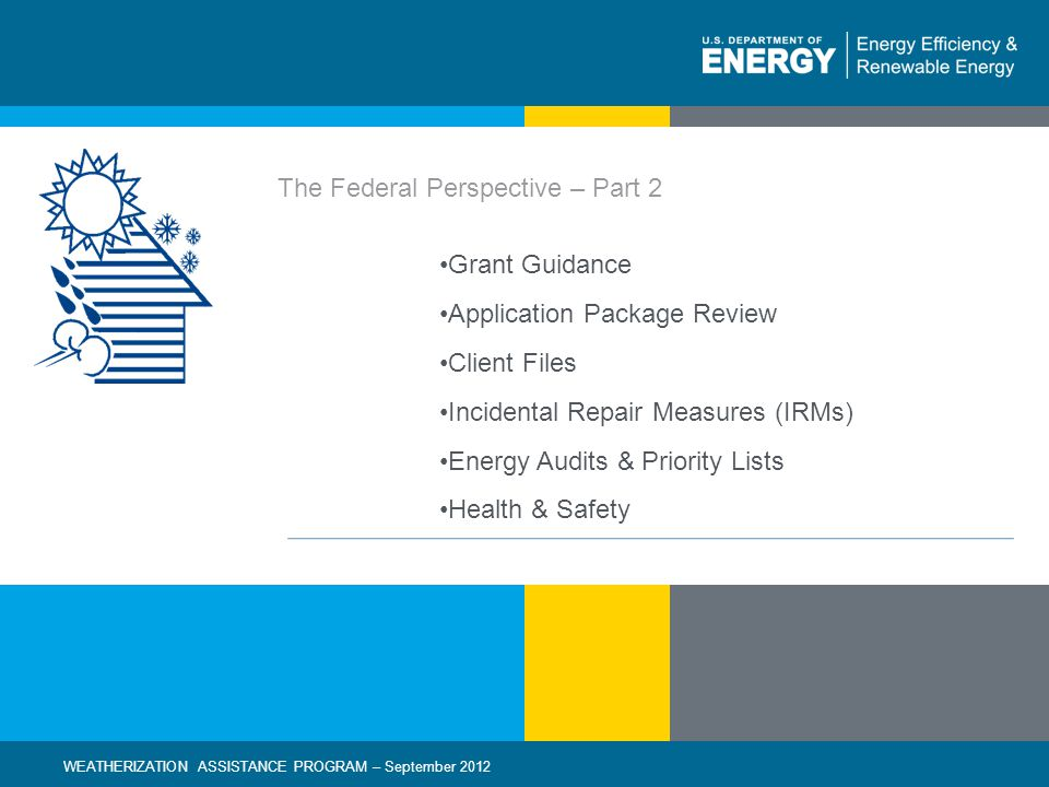 22 | WEATHERIZATION ASSISTANCE PROGRAM – September 2012eere.energy.gov Incidental Repair Measure