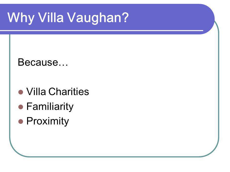 Why Villa Vaughan? Because… Villa Charities Familiarity Proximity