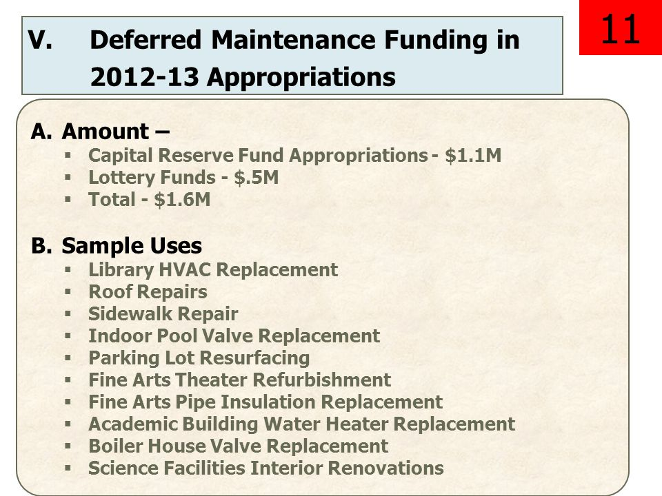 V.Deferred Maintenance Funding in 2012-13 Appropriations A.