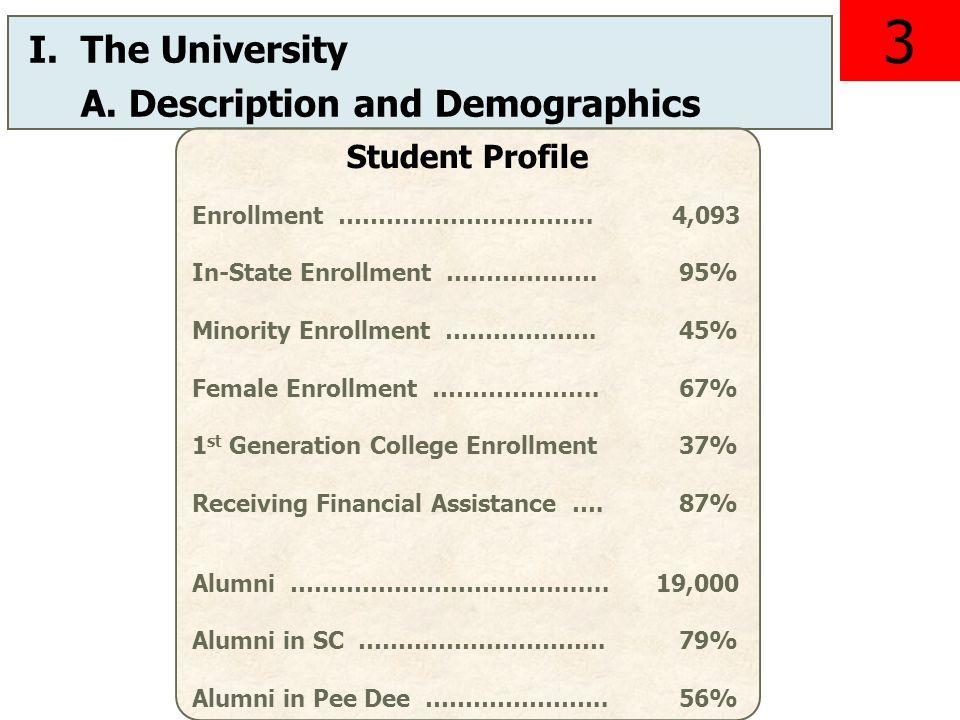 I.The University A. Description and Demographics Student Profile Enrollment …………………………..4,093 In-State Enrollment ………………. 95% Minority Enrollment …………