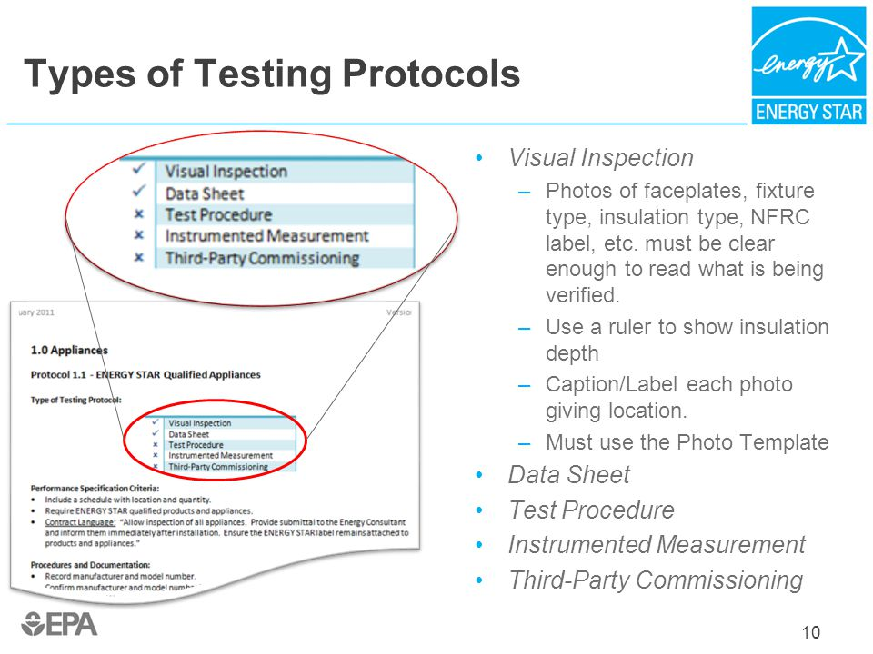 Types of Testing Protocols Visual Inspection –Photos of faceplates, fixture type, insulation type, NFRC label, etc. must be clear enough to read what