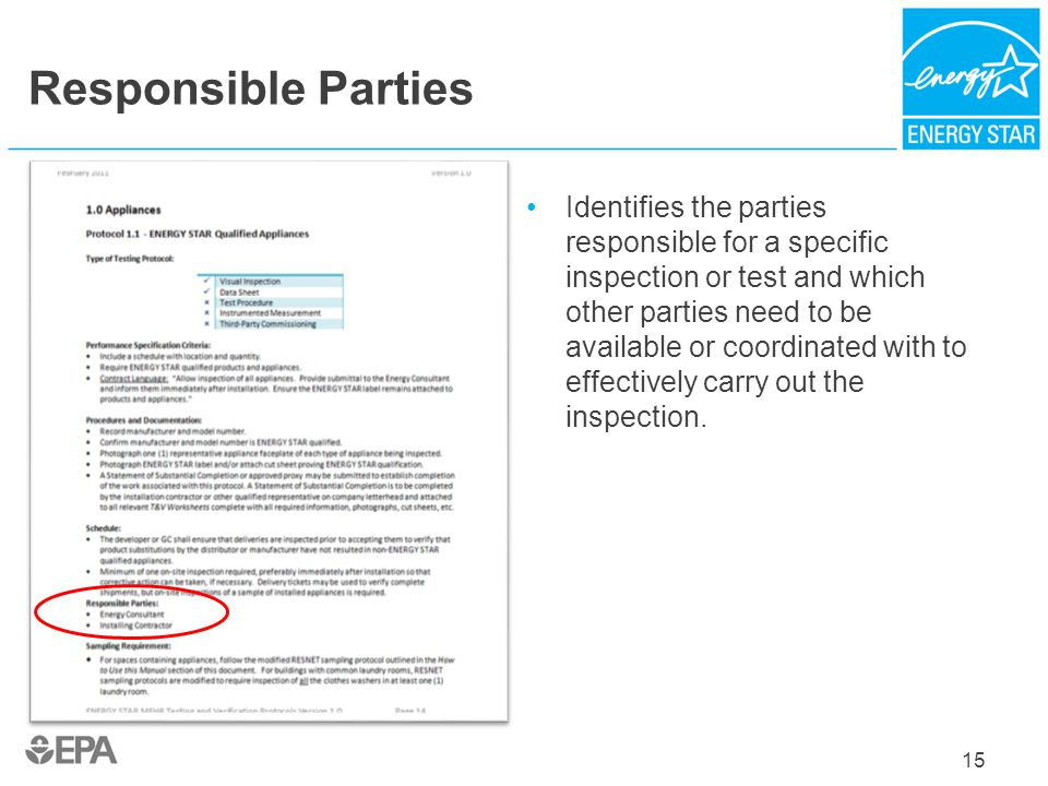 Responsible Parties Identifies the parties responsible for a specific inspection or test and which other parties need to be available or coordinated w